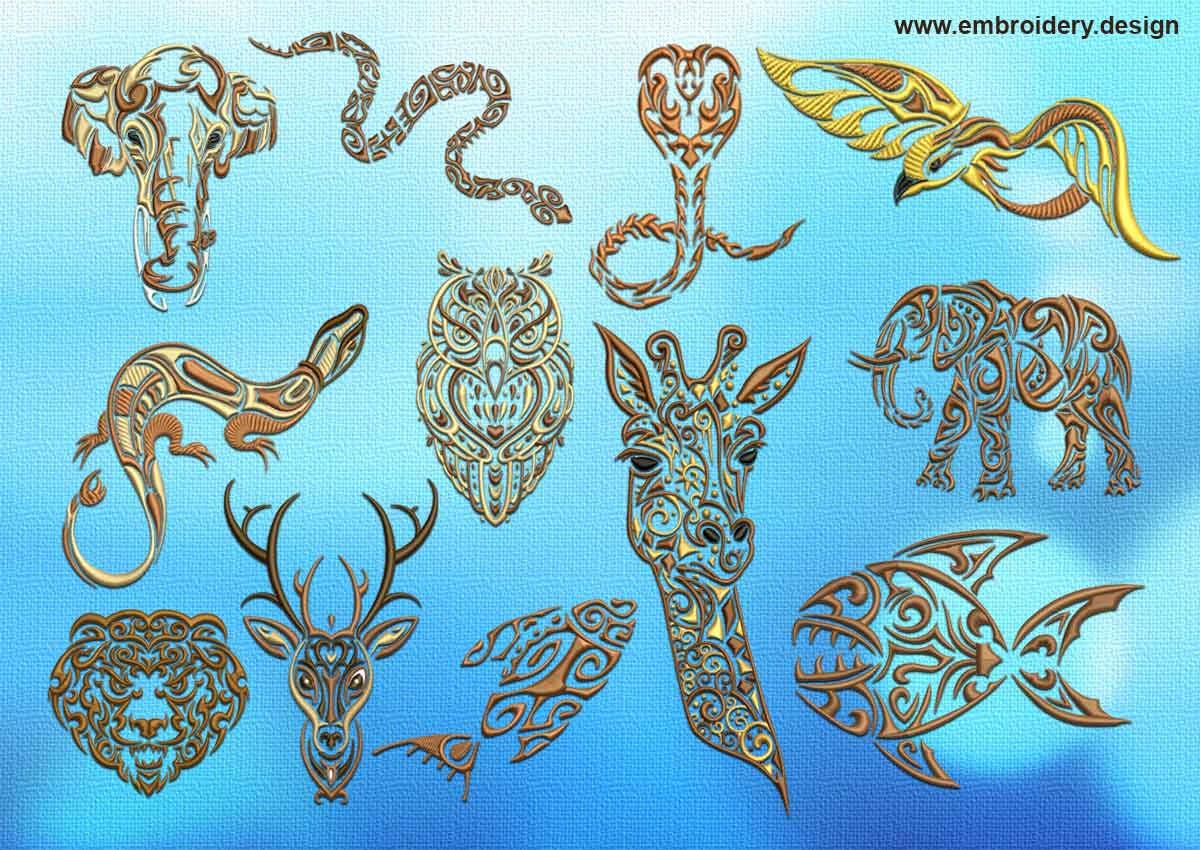 Various tattoo animals embroidery designs pack of