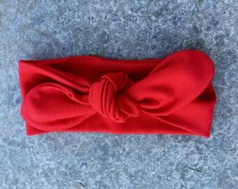 NEW Top Knot Adjustable  Stretch Red Jersey Knit Headband Headwrap, Boho Infant Little Baby Girl Turban Headband,Toddler Big Bow Headband