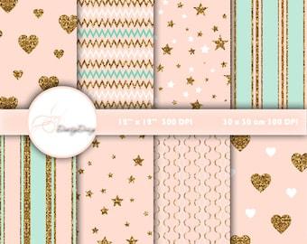 Digital Paper Gold, Mint, Pink, Wedding Digital Paper, Digital Patterns Valentines, Scrapbooking paper, Scrapbook Paper Hearts  #400