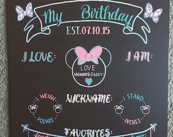 Reusable Birthday Chalkboard Girl