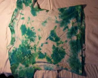 Green and blue splatter tee shirt