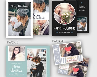 Christmas Cards 4-Pack Bundle - Holiday Cards Bundle - Photoshop PSD *INSTANT DOWNLOAD*