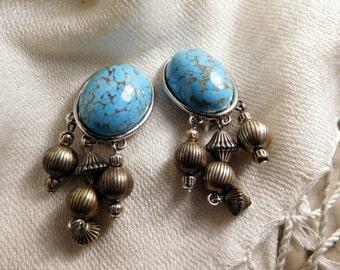 Ellen Designs Faux Turquoise Silver Toned Vintage Clip On Earrings