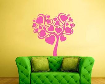 rvz227 Wall Sticker Tree of Love Hearts Bedroom Decal