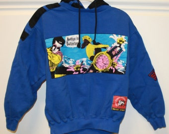 CLEARANCE - Vintage Swiss Ethno Fever Sweatshirt Pullover Hoodie Small