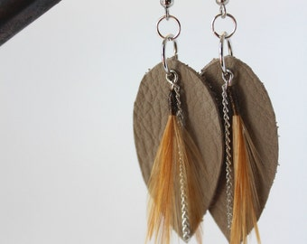 Hand tied Harvest feather and leather earrings