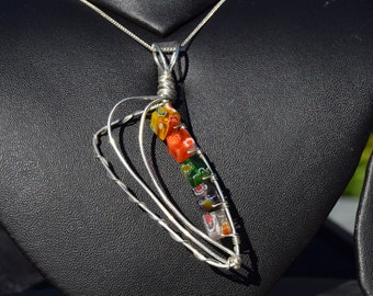 Colourful Sterling Silver and Glass Bead Angled Pendant