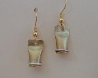 Handmade bullet casing earrings from brass 22 shells