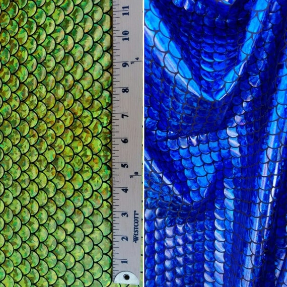 New Mermaid Fish Scales Fabric Colors: [Royal Blue/Black; Lime ...