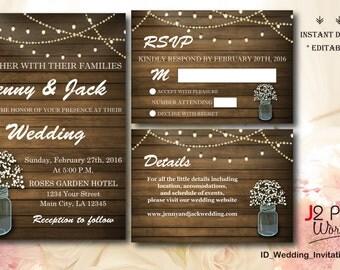 INSTANT DOWNLOAD Wedding Invitation Printable, Rustic Mason Jar Floral Wedding Invitation Instant Download, Lights Invites, DIY Editable pdf