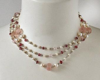 Pink Quartz and Tourmaline Necklace