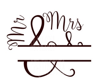 Mr and Mrs split letter  SVG DFX Cut file  Cricut explore file  decal wood signsscrapbook vinyl decal wood sign t shirt cricut cameo