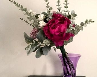 Pink Peony Bohemian Bridal or Bridesmaid Bouquet