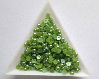 4mm half round flatback pearls x 400 Sage Green great for all crafts, scrapbooking