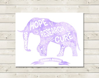 Alzheimer's Awareness Printable Wall Art - Purple Watercolor Elephant Typography Word Digital File - End ALZ - Printable Poster - Donation