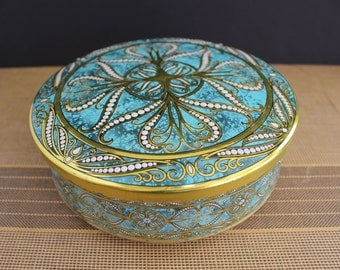 Vintage 1960s Turquoise and Gold Round Biscuit Cookie Tin