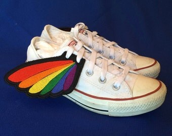 rainbow pride shoe wings, HIV/AIDS charity fund raiser