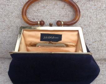 1950s Saks fifth avenue vintage top handle velvet purse and coin purse