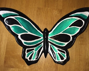 Ceramic Butterfly Wall/Shelf Decor Geeen/Pearl/Black