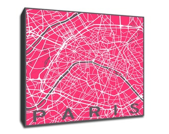 Paris Map printed on gallery-wrapped canvas