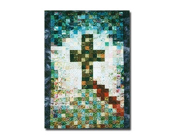 "CALVARY Quilt Pattern – Wall Quilt 35"" x 54"" – Watercolor Quilt – Religious Quilt, Cross Quilt, Church Banner, Wall Hanging, Christian Quilt"