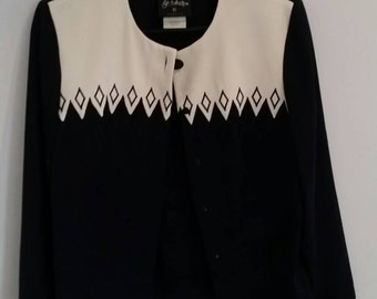 Vintage 1980s Navy and Cream Jacket