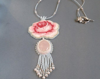 Handmade bead embroidery necklace pendant ROMANTIC ROSE