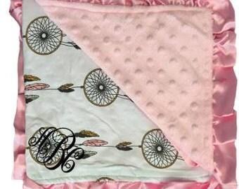 Monogrammed Minky Blanket, Monogrammed Dreamcatcher Minky Blanket, Monogrammed Blanket, Minky Blanket, Baby Blanket, Baby Shower Gift