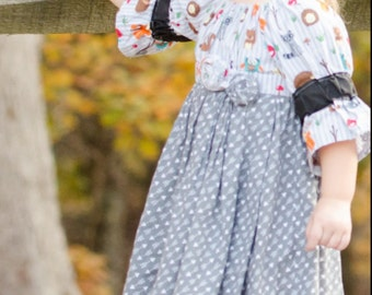 Toddler's Peasant Dress, Toddler's Dress, Girl's Dess, Forest Friends Dress, Woodland Dress, Woodland Theme Dress