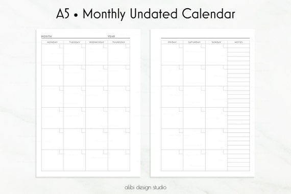 Weekly Calendar Undated : A calendar planner inserts monthly by