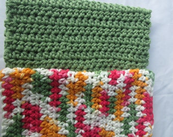 set of 2 fall color dish cloths, green dish cloth, cleaning rag, wash cloth, kitchen and dining, bathroom, bridal shower  gift