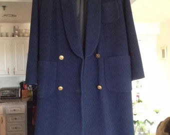 Womens vintage christian dior full size navy blue wool coat size 10