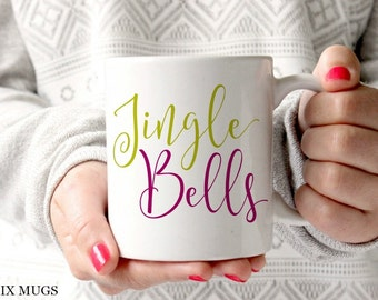 Christmas Mugs, Jingle Bells Mug, Holiday Mugs, Winter Coffee Mugs, Christmas Teacher Mugs, Holiday Gift Ideas, Secret Santa Gifts (X5811)