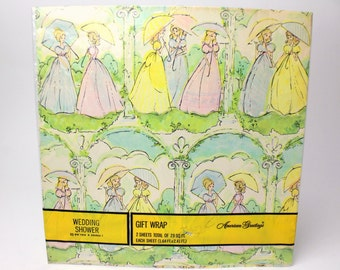 Vintage 50s Wedding Shower Gift Wrap - American Greetings - Set of 2 NEW sheets (1.64' x 2.41' each) - Women Parasols Bridal Shower
