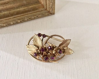 Vintage Victorian Look Gold Tone Purple Stone Brooch/Pin Great Gift