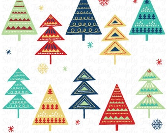 Christmas Tree Clip Art, Vintage Christmas, Retro Vintage style, Seasons Greetings, Templates, Christmas Personal and Commercial Use Cts006