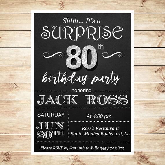 Surprise 80th Birthday Party Invitations By ArtPartyInvitation