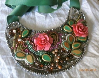 1 pink resin roses EMBROIDERY, beads, crystals, embroidery, sewing, gobelin base