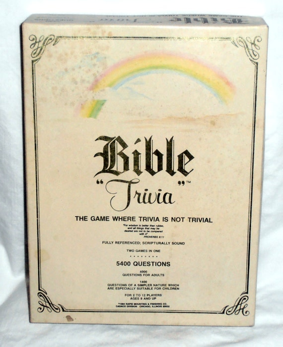 Bible Trivia Board Game: The game where trivia is not Trivial by Cadaco 1984 Religious Game- Spiritual Game- Adult and Child Game- Complete