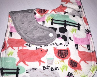 Baby Bib for Girl - Flannel and Minky - Farm Animals - Baby Shower Gift