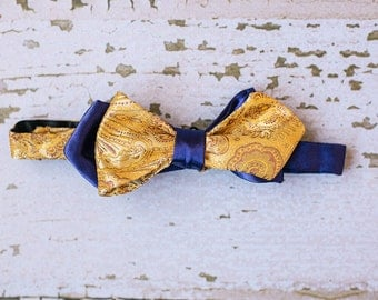 Mens Yellow Gold Paisley Bow Tie