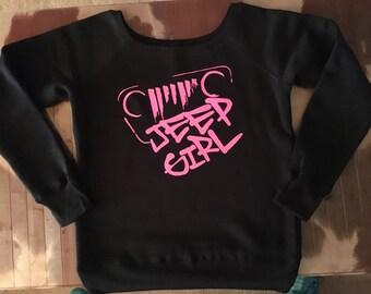 Ladies wide neck Jeep fleece sweater