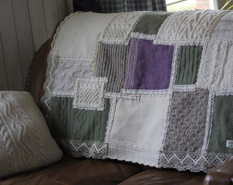 Hand Sewn Sofa Throw - Cream/Green/Purple
