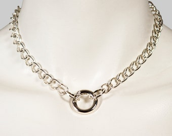 Chain Link Choker Necklace, Silver Plated Chain and Clasp Collar, Made to Order Collar, Day Collar, BDSM Collar,  BDSM Choker
