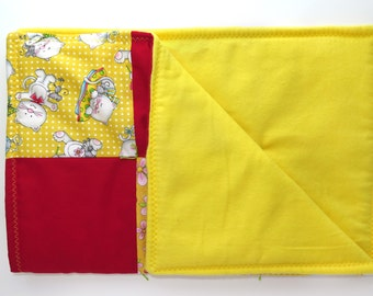 Yellow Kitty Cat Quilt, Cat Blanket, Cat Bed, Handmade Quilt, Quilted Blanket