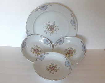 T K  Thun Platter and Bowls Made in Czechoslovakia, Vintage Large Plate and Three Bowls