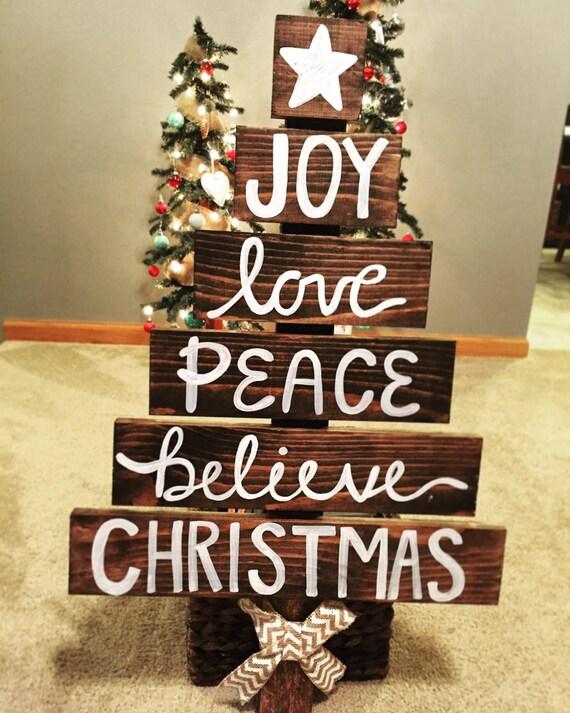 Christmas door hanger tree wooden