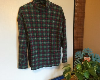 Eddie Bauer Vintage plaid long sleeve cotton tee,Eddie Bauer XL, Outdoor Fitter USA,Plaid Christmas shirt,Green/Red with flecks of yellow