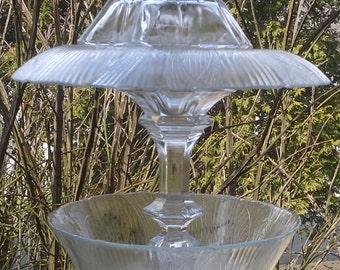 Bird Feeder Made of Vintage Glass