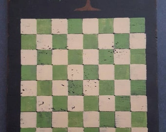 Game Board Hand Stenciled Primitive Country Checkers Crow Stars